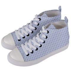 Alice Blue Quatrefoil In An English Country Garden Women s Mid Top Canvas Sneakers by PodArtist