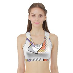 Letter Paper Note Design White Sports Bra With Border