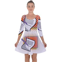Letter Paper Note Design White Quarter Sleeve Skater Dress