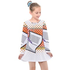 Letter Paper Note Design White Kids  Long Sleeve Dress