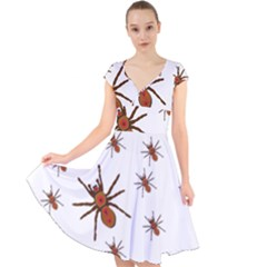 Nature Insect Natural Wildlife Cap Sleeve Front Wrap Midi Dress