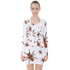 Nature Insect Natural Wildlife V Neck Bodycon Long Sleeve Dress