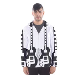 Guitar Abstract Wings Silhouette Hooded Windbreaker (men)