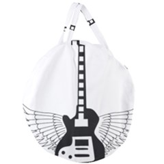 Guitar Abstract Wings Silhouette Giant Round Zipper Tote