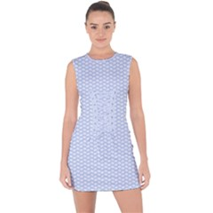 Alice Blue White Kisses In English Country Garden Lace Up Front Bodycon Dress by PodArtist