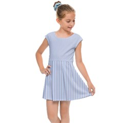 Alice Blue Pinstripe In An English Country Garden Kids Cap Sleeve Dress by PodArtist