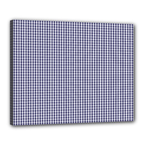 Usa Flag Blue And White Gingham Checked Canvas 20  X 16  by PodArtist