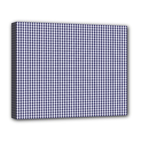 Usa Flag Blue And White Gingham Checked Deluxe Canvas 20  X 16   by PodArtist