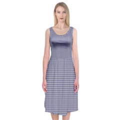 Usa Flag Blue And White Gingham Checked Midi Sleeveless Dress by PodArtist