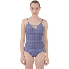 Usa Flag Blue And White Gingham Checked Cut Out Top Tankini Set