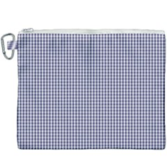 Usa Flag Blue And White Gingham Checked Canvas Cosmetic Bag (xxxl)