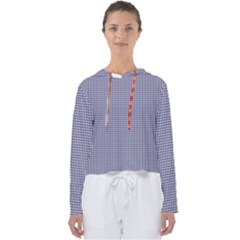 Usa Flag Blue And White Gingham Checked Women s Slouchy Sweat