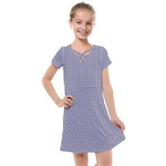 Usa Flag Blue And White Gingham Checked Kids  Cross Web Dress