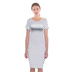 Usa Flag Blue Stars On White Classic Short Sleeve Midi Dress