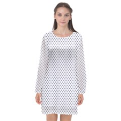 Usa Flag Blue Stars On White Long Sleeve Chiffon Shift Dress