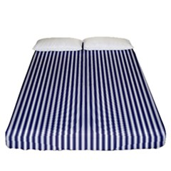 Usa Flag Blue And White Stripes Fitted Sheet (queen Size) by PodArtist