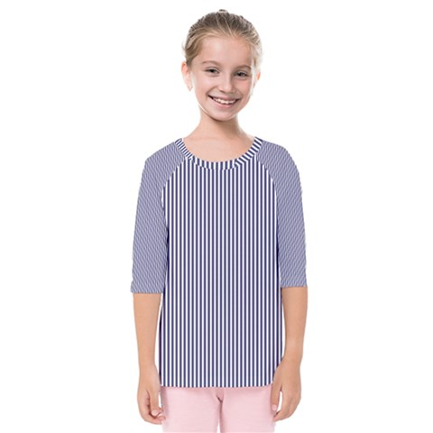 Usa Flag Blue And White Stripes Kids  Quarter Sleeve Raglan Tee by PodArtist
