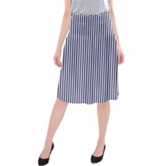 Usa Flag Blue And White Stripes Midi Beach Skirt by PodArtist