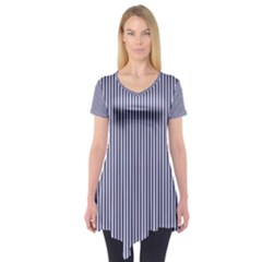 Usa Flag Blue And White Stripes Short Sleeve Tunic  by PodArtist