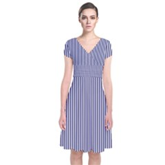 Usa Flag Blue And White Stripes Short Sleeve Front Wrap Dress