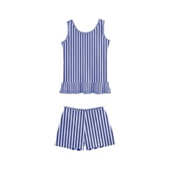 Usa Flag Blue And White Stripes Kid s Boyleg Swimsuit