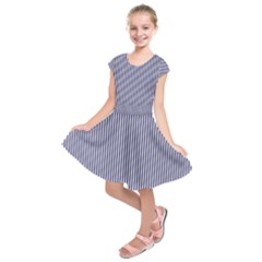 Usa Flag Blue And White Stripes Kids  Short Sleeve Dress by PodArtist