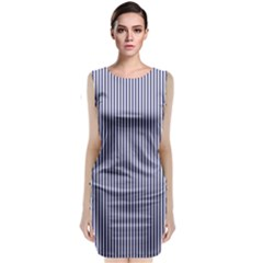 Usa Flag Blue And White Stripes Sleeveless Velvet Midi Dress