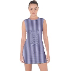 Usa Flag Blue And White Stripes Lace Up Front Bodycon Dress