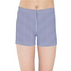 Usa Flag Blue And White Stripes Kids Sports Shorts