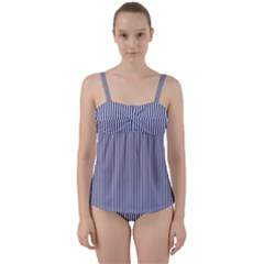 Usa Flag Blue And White Stripes Twist Front Tankini Set by PodArtist