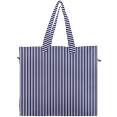 Usa Flag Blue And White Stripes Canvas Travel Bag by PodArtist