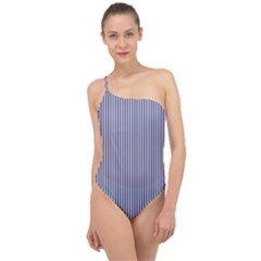 Usa Flag Blue And White Stripes Classic One Shoulder Swimsuit