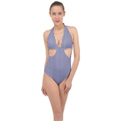 Usa Flag Blue And White Stripes Halter Front Plunge Swimsuit by PodArtist