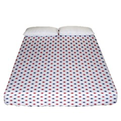 Usa Flag Red And Flag Blue Stars Fitted Sheet (queen Size) by PodArtist