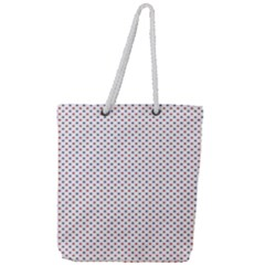 Usa Flag Red And Flag Blue Stars Full Print Rope Handle Tote (large)