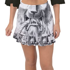 Steampunk Steam Punk Lion Door Fishtail Mini Chiffon Skirt