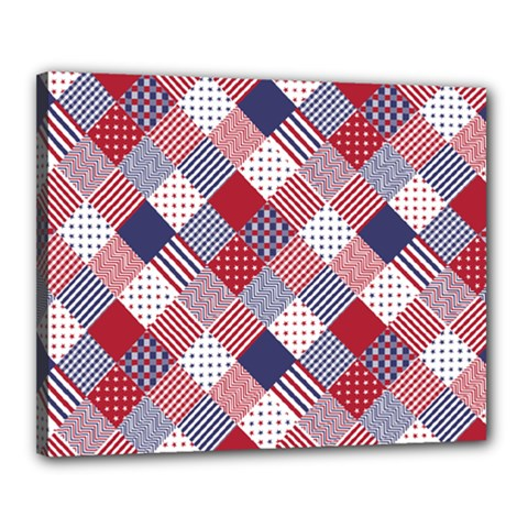 Usa Americana Diagonal Red White & Blue Quilt Canvas 20  X 16  by PodArtist