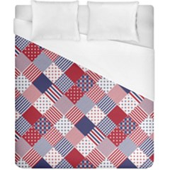 Usa Americana Diagonal Red White & Blue Quilt Duvet Cover (california King Size) by PodArtist