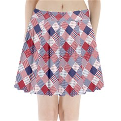 Usa Americana Diagonal Red White & Blue Quilt Pleated Mini Skirt by PodArtist