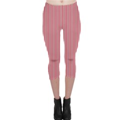 Usa Flag Red And White Stripes Capri Leggings  by PodArtist