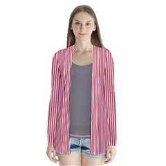 Usa Flag Red And White Stripes Drape Collar Cardigan by PodArtist