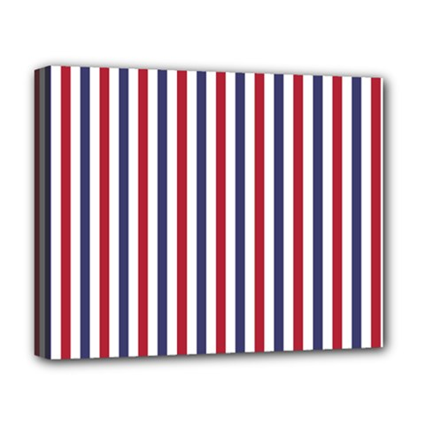 Usa Flag Red White And Flag Blue Wide Stripes Deluxe Canvas 20  X 16   by PodArtist