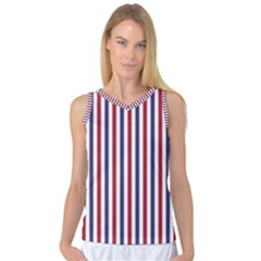 Usa Flag Red White And Flag Blue Wide Stripes Women s Basketball Tank Top by PodArtist
