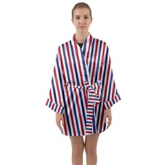 Usa Flag Red White And Flag Blue Wide Stripes Long Sleeve Kimono Robe