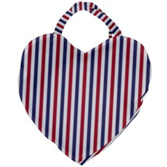 Usa Flag Red White And Flag Blue Wide Stripes Giant Heart Shaped Tote by PodArtist
