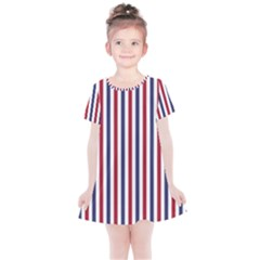 Usa Flag Red White And Flag Blue Wide Stripes Kids  Simple Cotton Dress