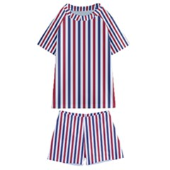 Usa Flag Red White And Flag Blue Wide Stripes Kids  Swim Tee And Shorts Set by PodArtist