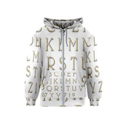 Letters Gold Classic Alphabet Kids  Zipper Hoodie by Sapixe
