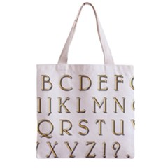 Letters Gold Classic Alphabet Zipper Grocery Tote Bag by Sapixe