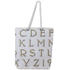 Letters Gold Classic Alphabet Full Print Rope Handle Tote (large) by Sapixe